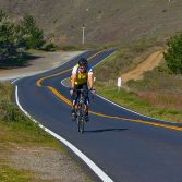 bicyclist on Hwy 1 near Stinson Beach