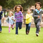 kids running in a park