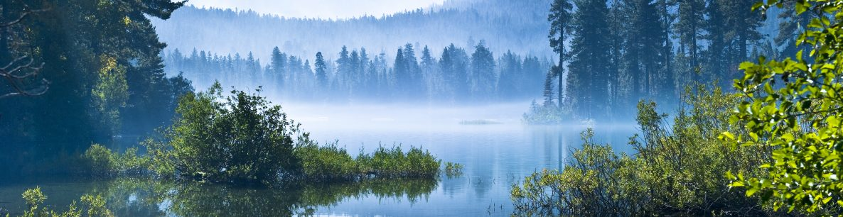 morning mist over lake at Mount Lassen
