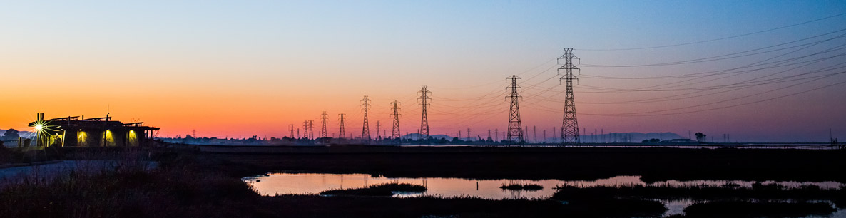 power lines cross San Francisco Bay wetlands